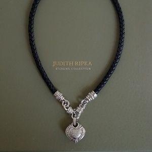 Judith Ripka Black Leather Necklace w/ Heart Charm